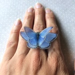 Butterfly Ring in Cotton and Silk Organza - Fluttering Butterfly Ring - Nature Ring