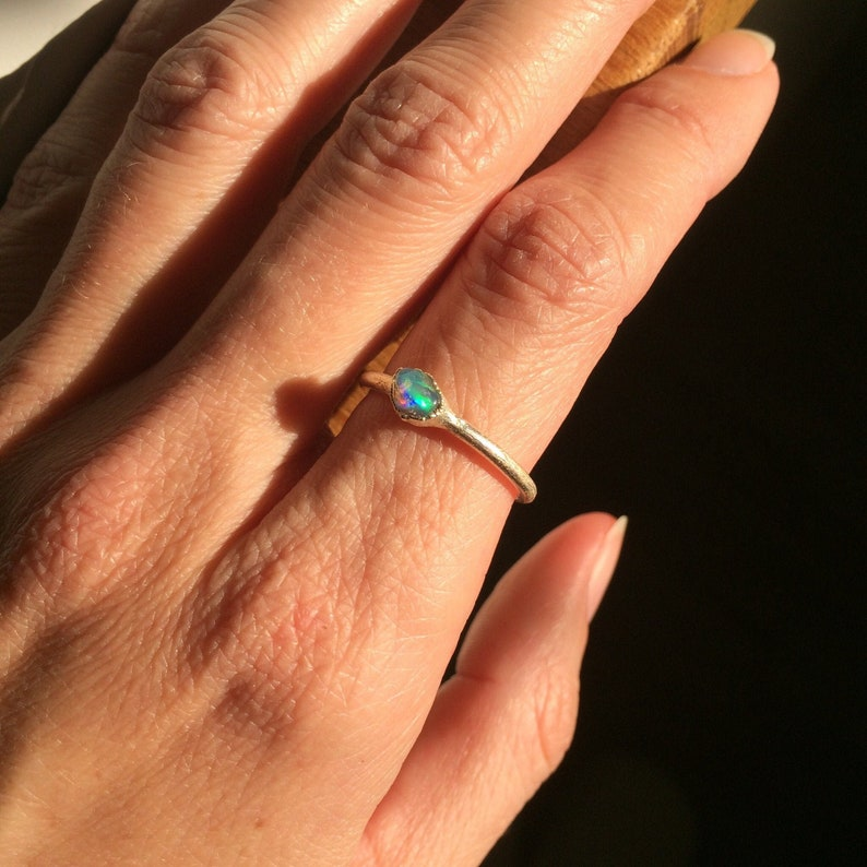 Raw Opal Ring with Defect US 8 Size Dainty Ring Stacking image 0