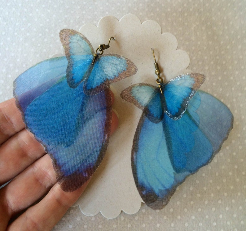 Butterfly Earrings Morpho Butterfly Wings Earrings Silk image 0