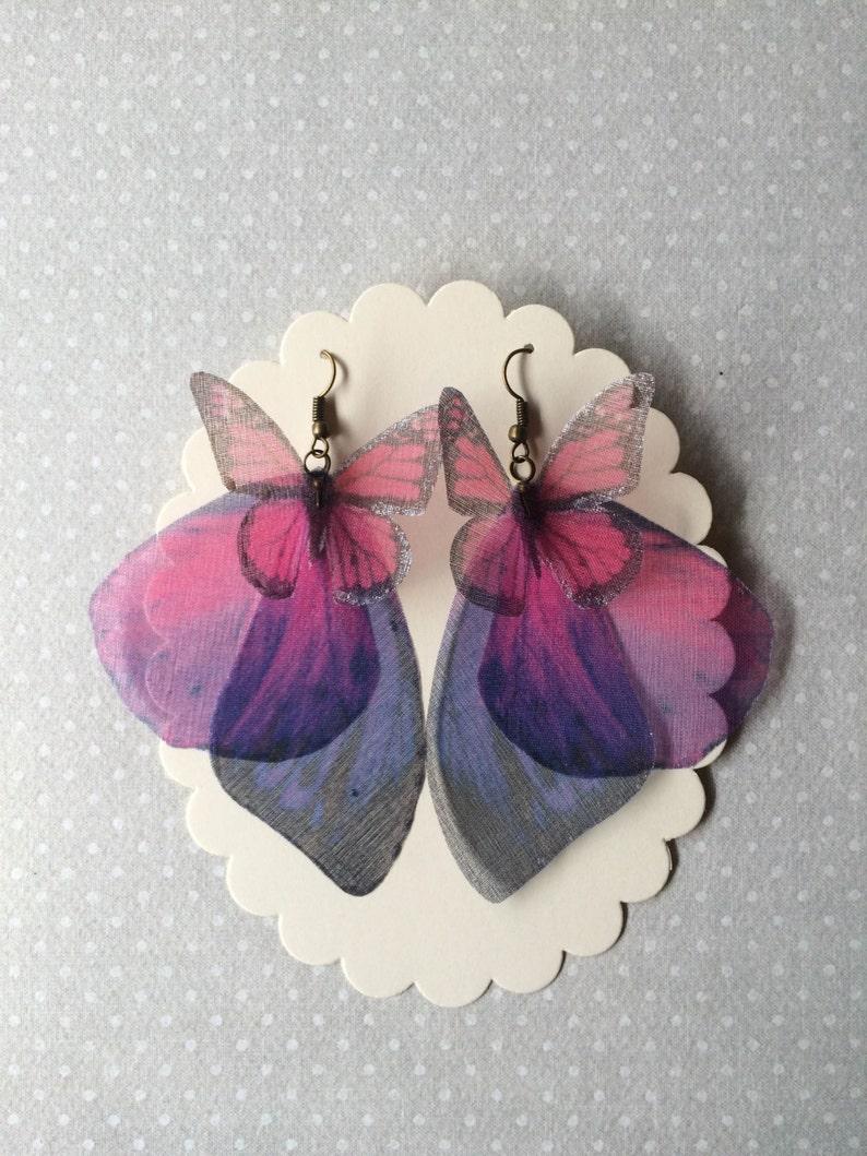 Butterfly Earrings Wings Earrings in Purple Pink Silk Organza image 0