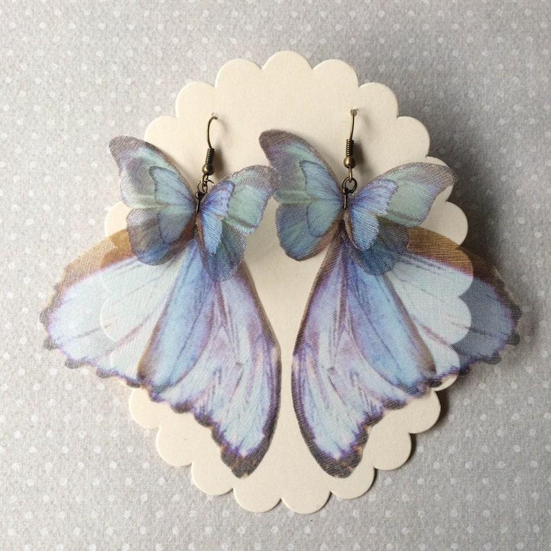 Butterfly Earrings Wings Earrings Morpho Blue Earrings in image 0