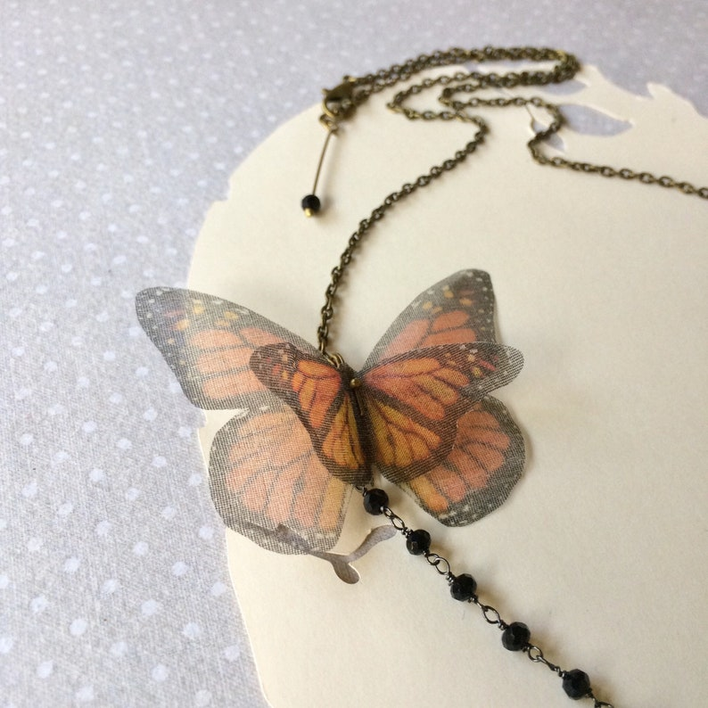 Butterfly Necklace Monarch Butterfly Orange Butterfly Silk image 0