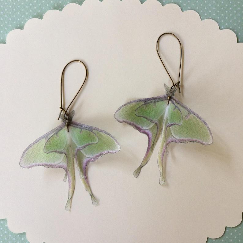 Luna Moth Earrings in Silk Organza Actias Luna Butterfly image 0