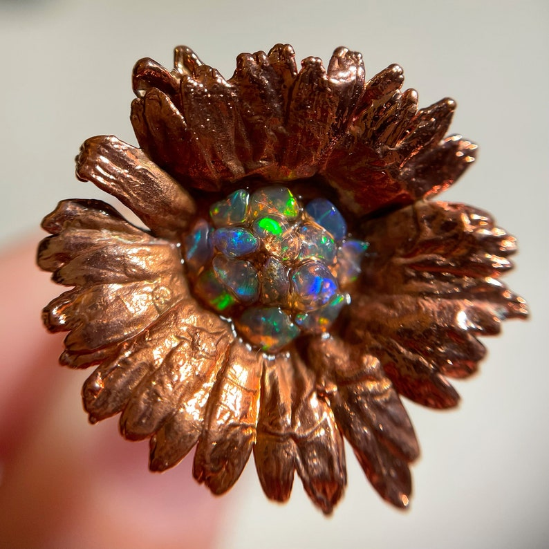 Raw Opal Ring US 5 1/2 Size Daisy Ring Flower Ring Floral image 0