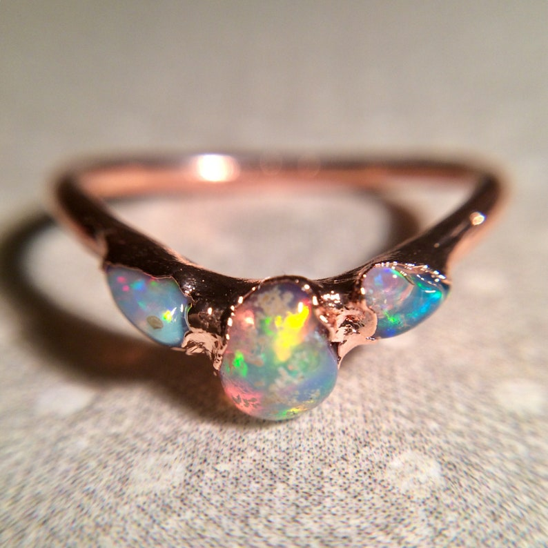 Opal Ring Raw Gemstone Ring Dainty Ring Stacking Ring image 0