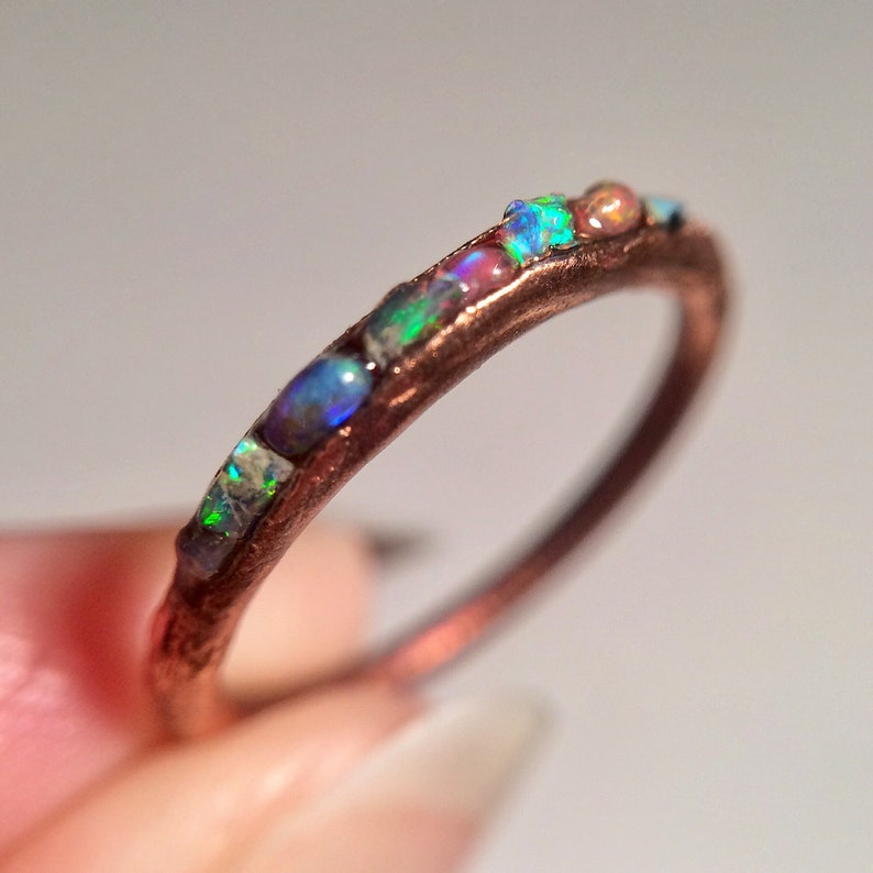 Opal Ring Genuine Natural Ethiopian Opal Band Ring Dainty image 0