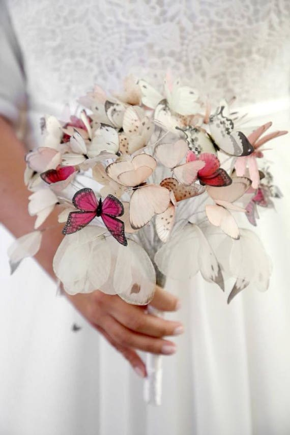 Bouquet Sposa Total White.Butterfly Wedding Bouquet Dragonfly Wedding Bouquet Wedding Etsy