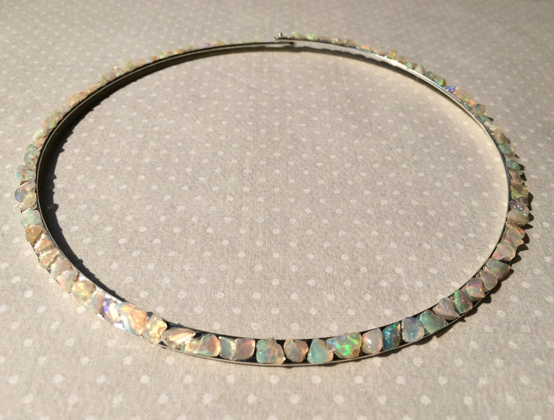Opal Silver Plated Necklace Rigid Hoop Choker Raw Stone image 0