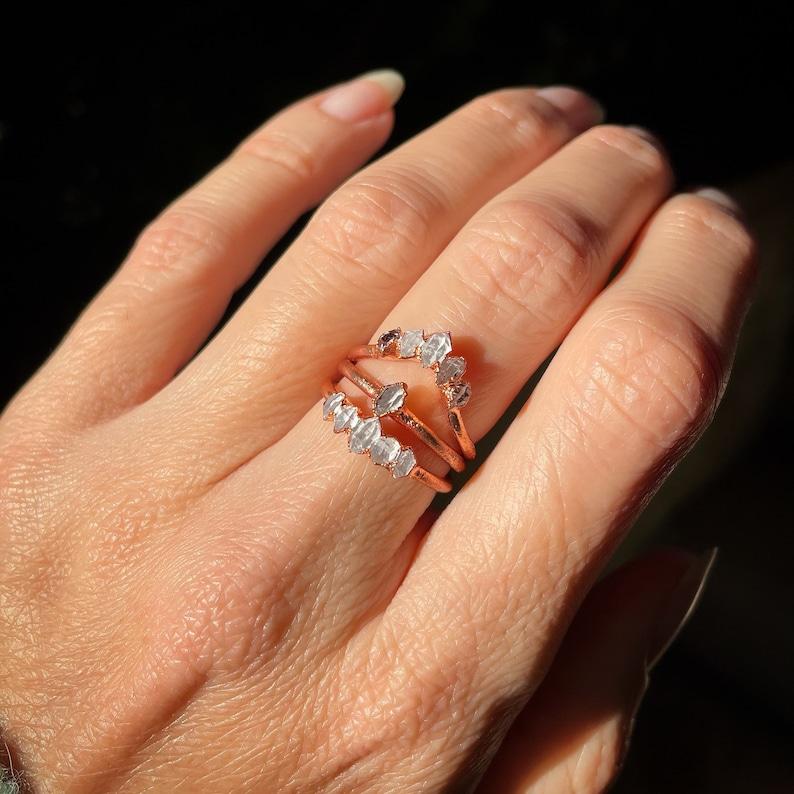 Herkimer Diamond Ring Raw Crystal Ring Dainty Ring Stacking image 1