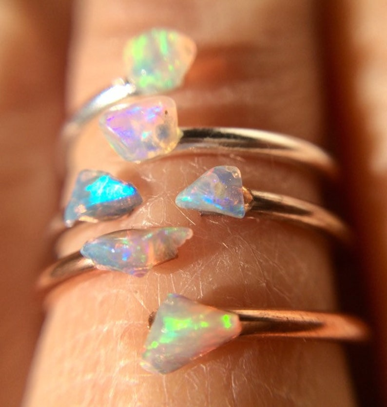 Opal Ring Opal Sterling Silver Ring Raw Gemstone Stacking image 1