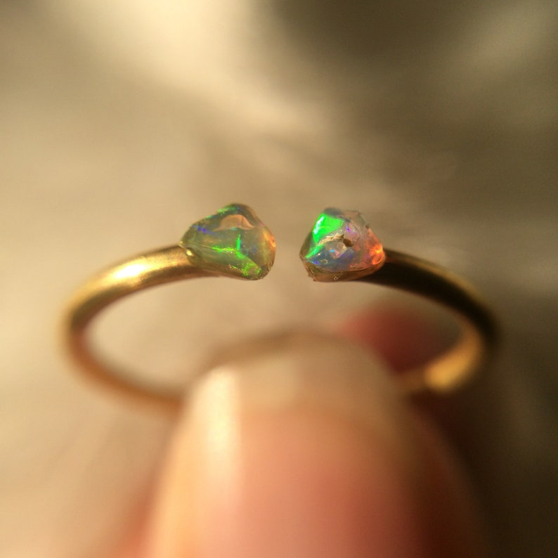Opal Ring Brass Ring Sterling Silver Opal Ring Raw Stone image 0