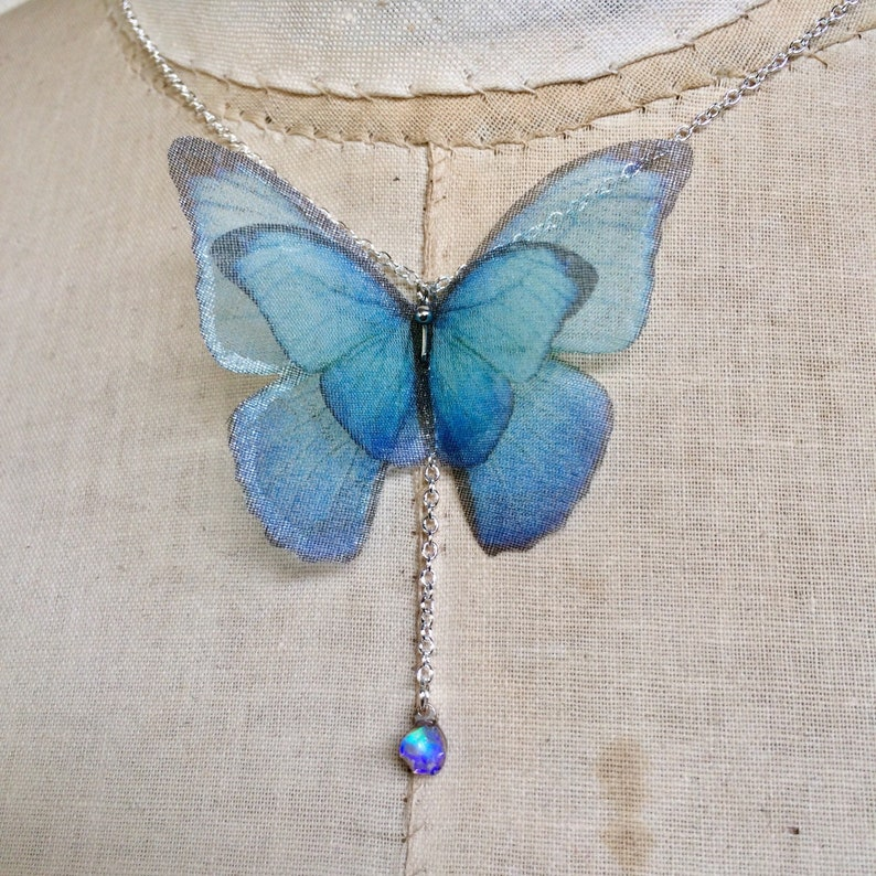 Blue Morpho Necklace Opal Necklace Silk Organza Morpho Raw image 0