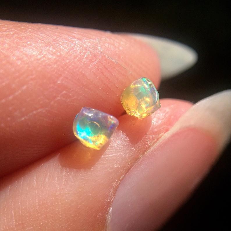 Opal Earrings Small Opal Studs Earrings Raw Stone Raw image 0
