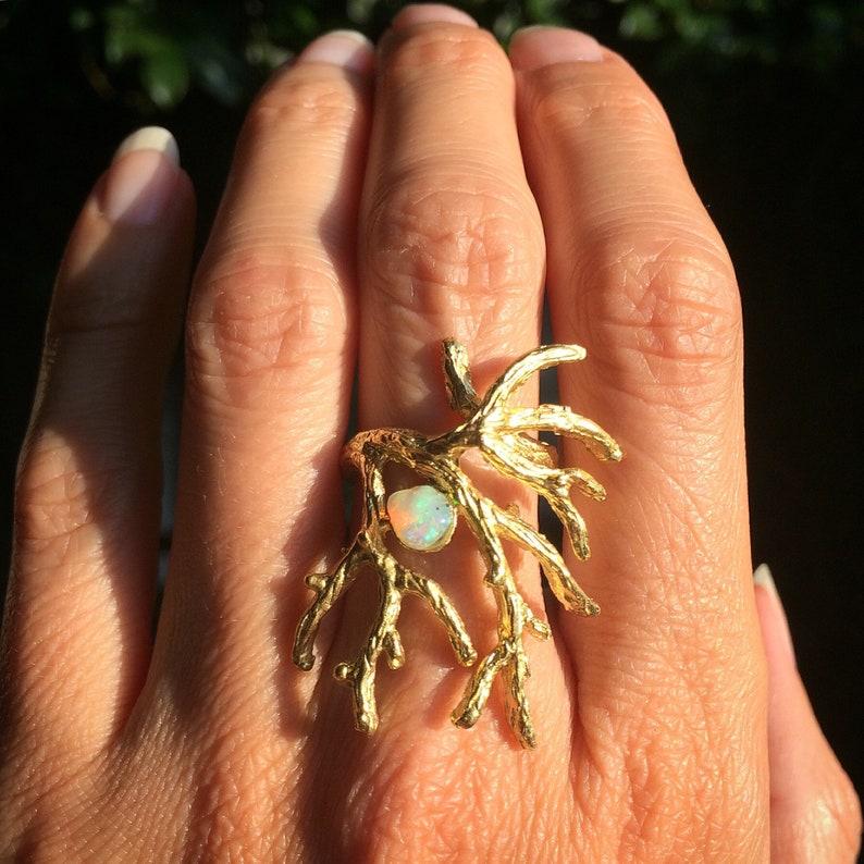 Opal Ring Statement Ring Raw Gemstone Ring Tree Branch image 0