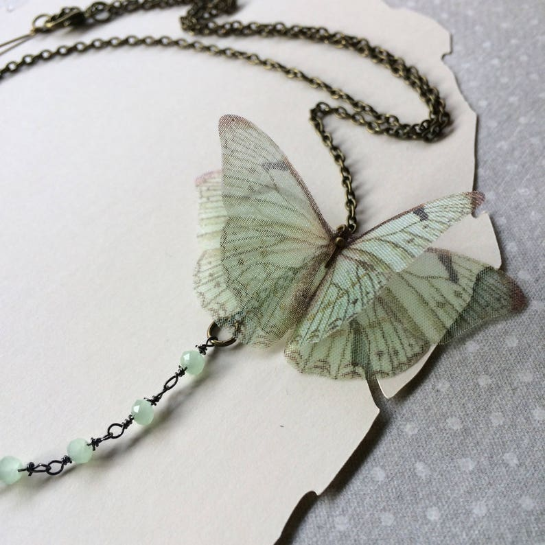 Butterfly Necklace in Seafoam Green Silk Organza with Crystal image 0