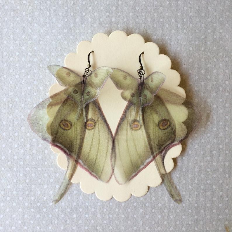 Luna Moth and Wings Earrings in Silk Organza Actias Luna image 0