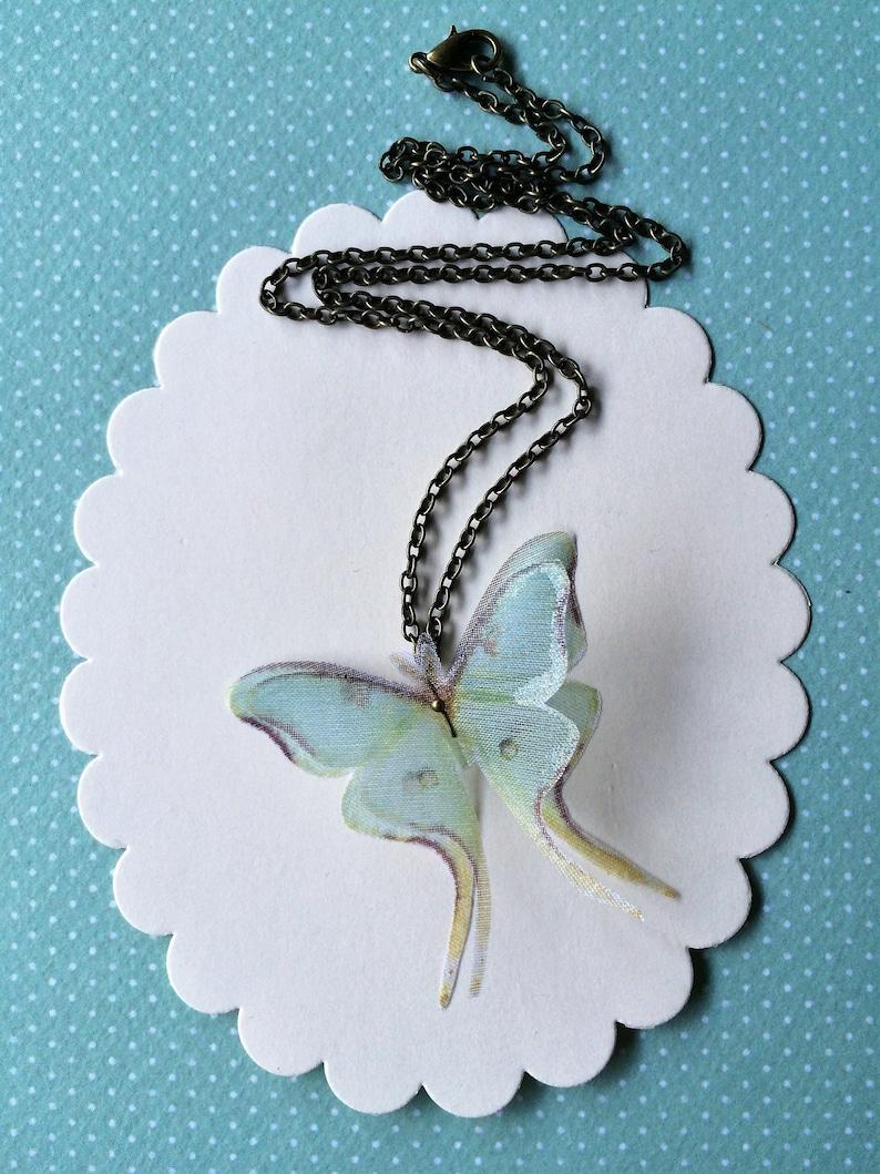 Luna Moth Necklace in Silk Organza image 0