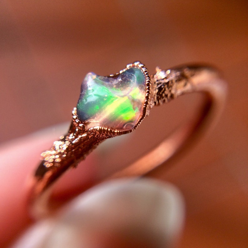 Raw Opal Ring Dainty Opal Ring Stacking Opal Ring Copper image 0