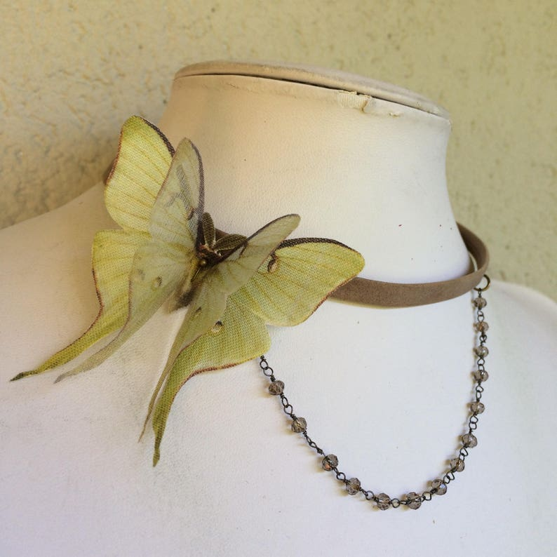 Luna Moth Choker Luna Moth Necklace Genuine Taupe Distressed image 0