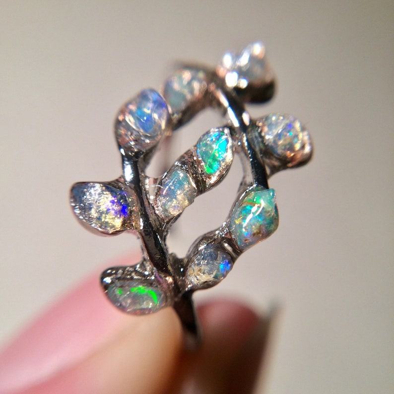 Opal Silver Ring US 6 Size Opal Branch Leaf Ring Opal Twig image 0