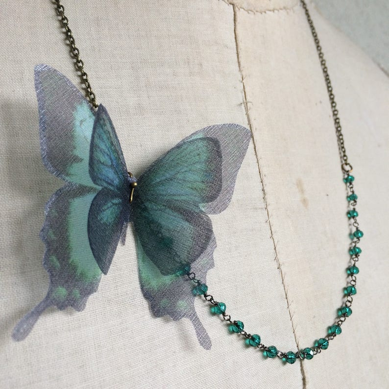 Butterfly Necklace in Teal Green Silk Organza with Crystal image 0
