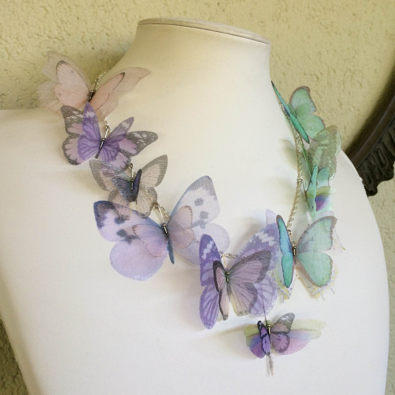 Butterfly Necklace in Lilac Pale Pink and Aqua Silk Organza  image 0