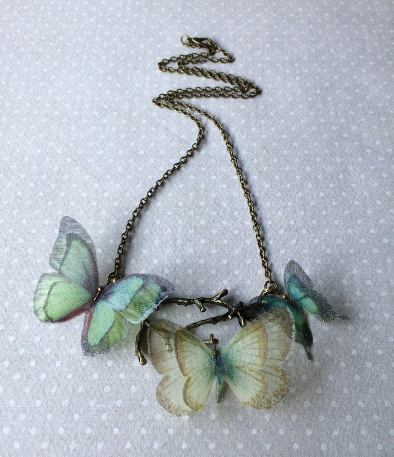 Butterfly Necklace Tree Branch Necklace Aqua Teal Brown Silk image 0