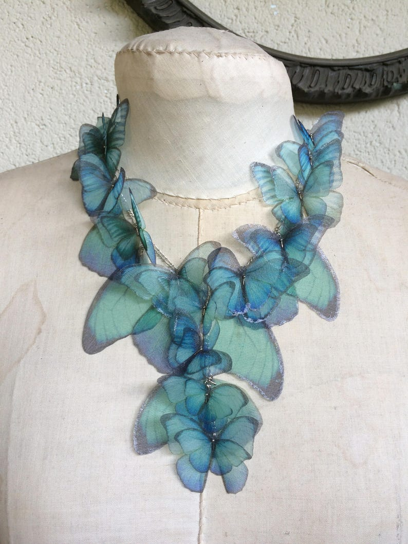 Butterfly Necklace Morpho Butterfly Wings Necklace image 0