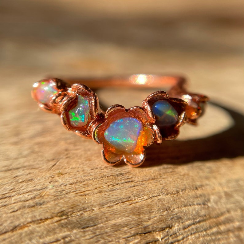Chevron Opal Ring Raw Opal Flower Ring Floral Ring Copper image 1