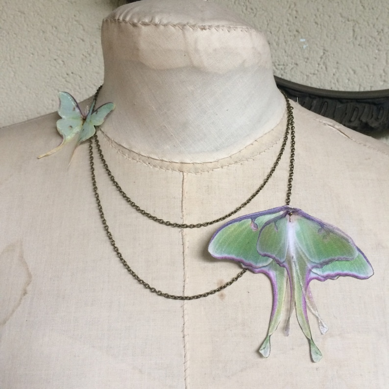 Luna Moth Necklace in Cotton and Silk Organza Double Chain image 0