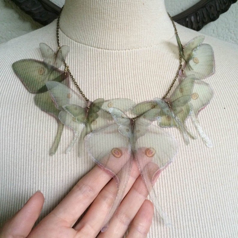 Luna Moth Necklace Wings Necklace Organza Butterfly Sage image 0
