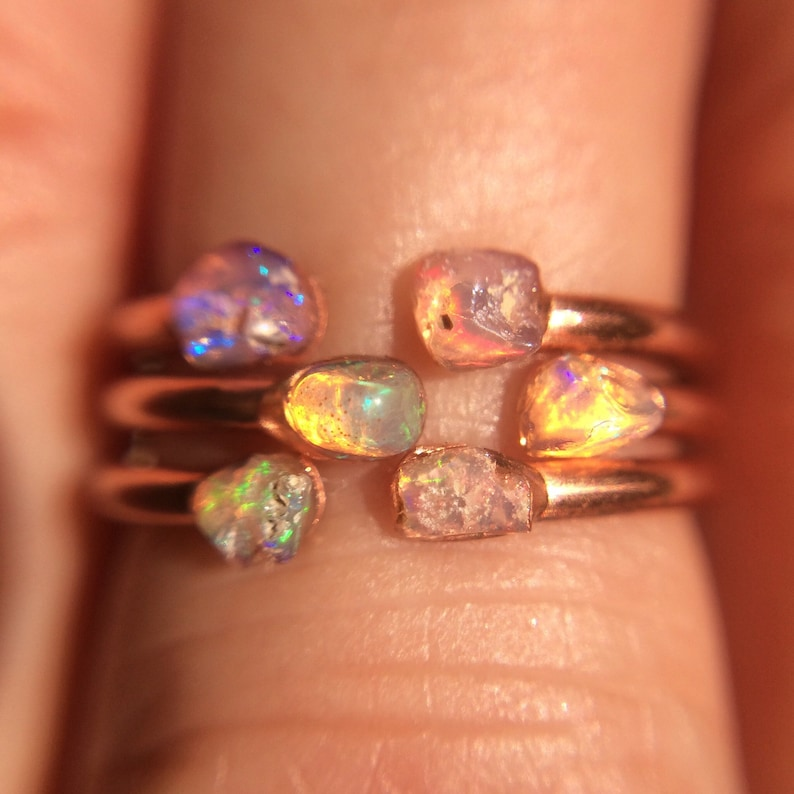 3 Opal Rings Opal Midi Rings Raw Stone Stacking Ring image 0