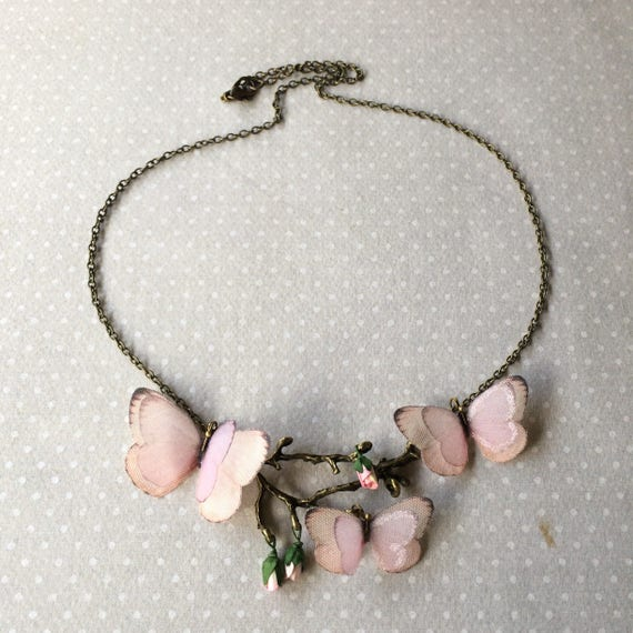 Butterfly Necklace in Pink Cotton and Silk Organza on Tree Branch with Tiny Paper Rosebuds Statement Necklace Botanical Necklace