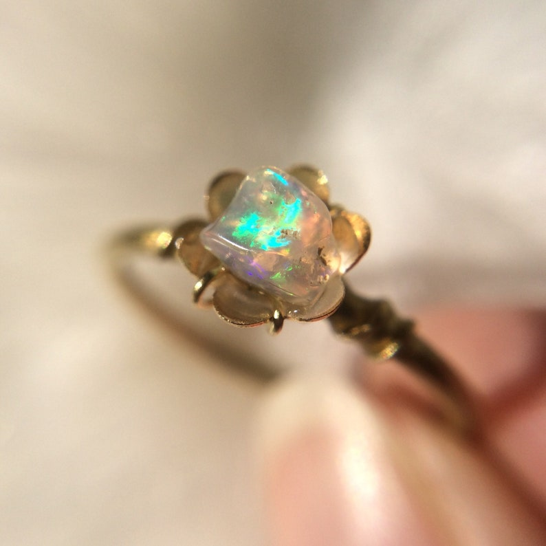 Opal Ring Brass Ring Raw Stone Stacking Ring Dainty Ring image 0