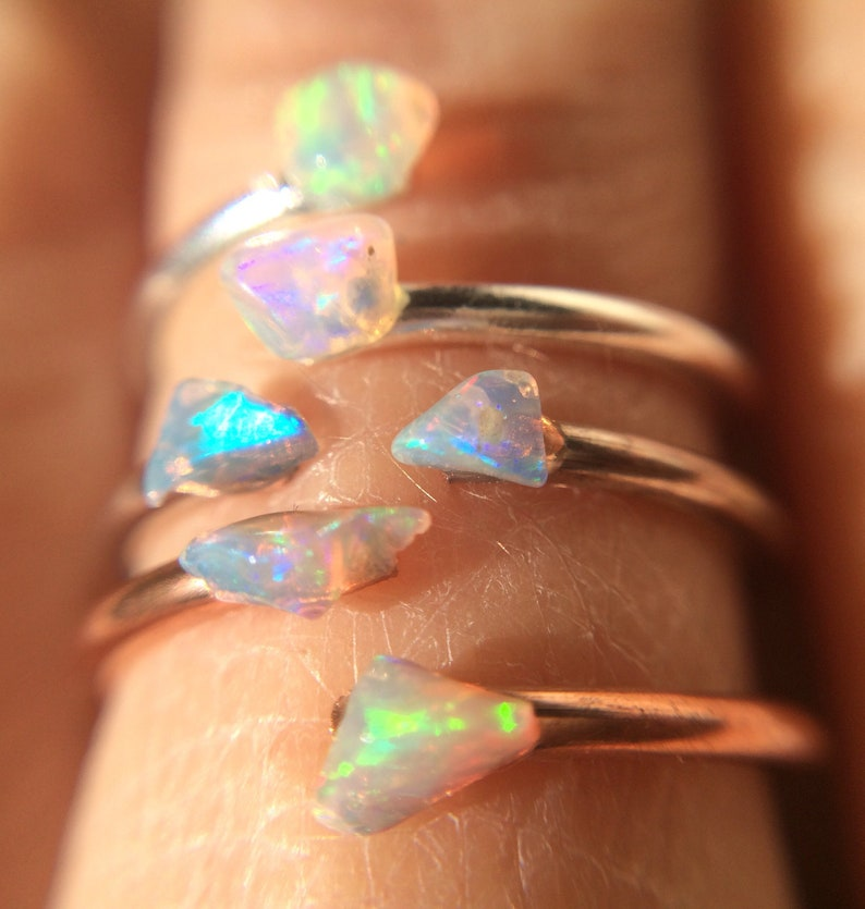 Opal Ring Opal Sterling Silver Ring Raw Stone Stacking image 0