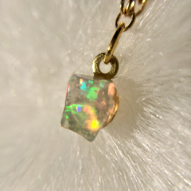 Opal Necklace Dainty Minimal Opal Jewelry Gold Opal image 0