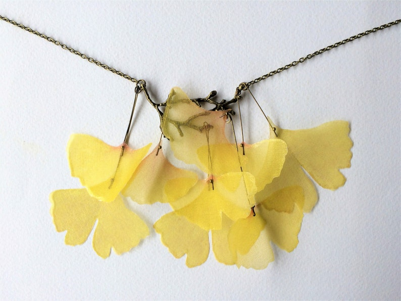 Leaf Necklace Leaf Jewelry Ginkgo Necklace Ginkgo Biloba image 0