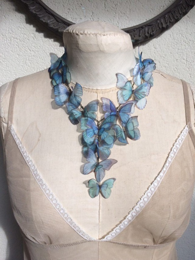 Morpho Butterfly Necklace in Silk Organza Blue and Teal Green image 0