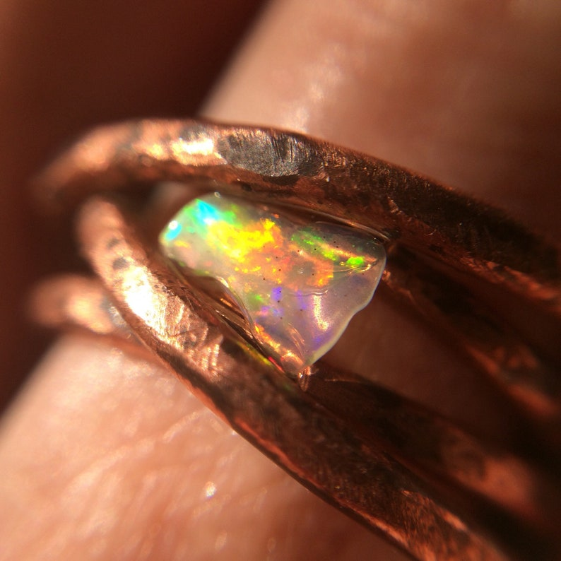 Wire Wrapped Opal Ring Twisted Ring Hammered Ring Rustic image 0