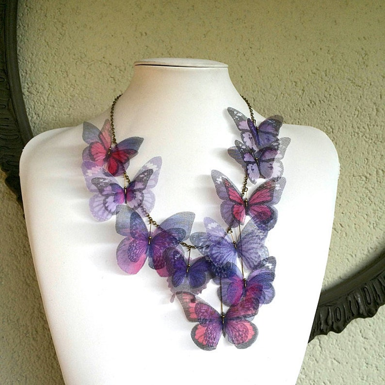 Butterfly Necklace Purple Lilac Lavender and Pink Fucsia Silk image 0