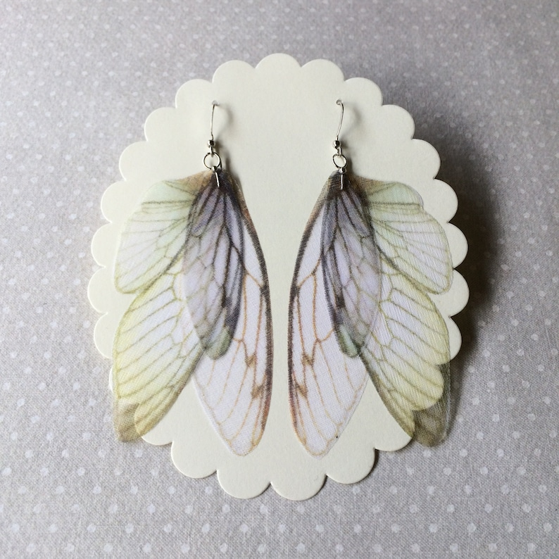 Butterfly Earrings Cicada Wings Earrings Moth Wings image 0