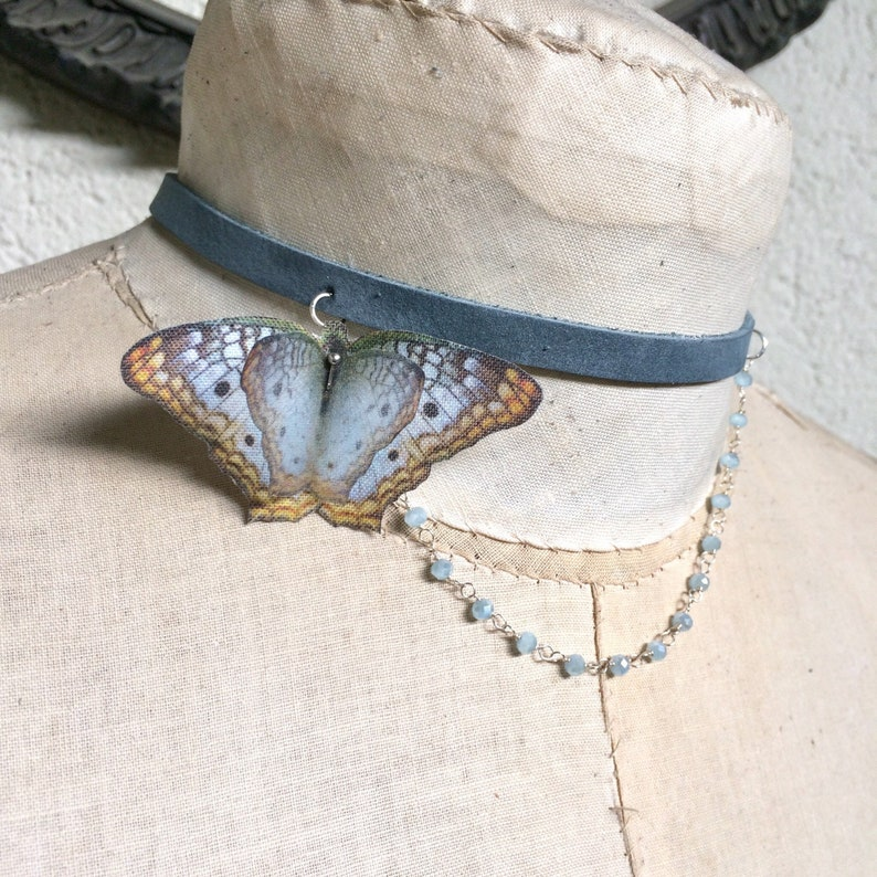Butterfly Choker Butterfly Necklace White Peacock Butterfly image 0