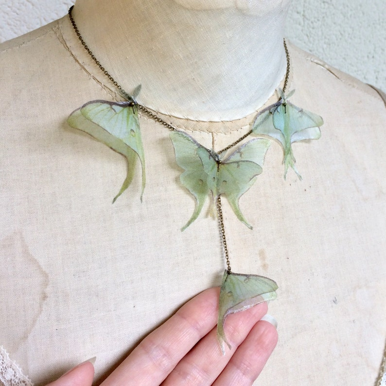 Luna Moth Necklace Butterfly Necklace Organza Butterfly image 0