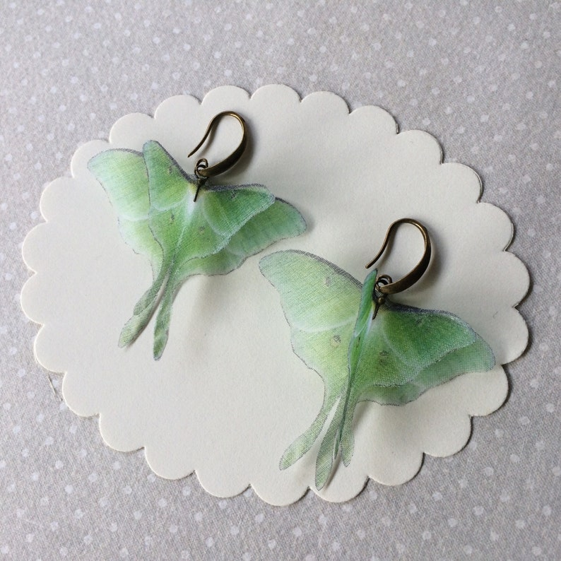 Luna Moth Earrings in Silk Organza Actias Luna Butterfly image 0