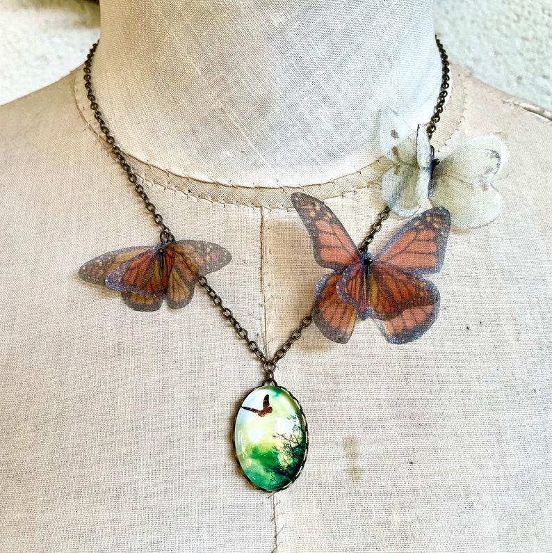 Butterfly Necklace Monarch Butterfly Silk Butterfly Orange image 0
