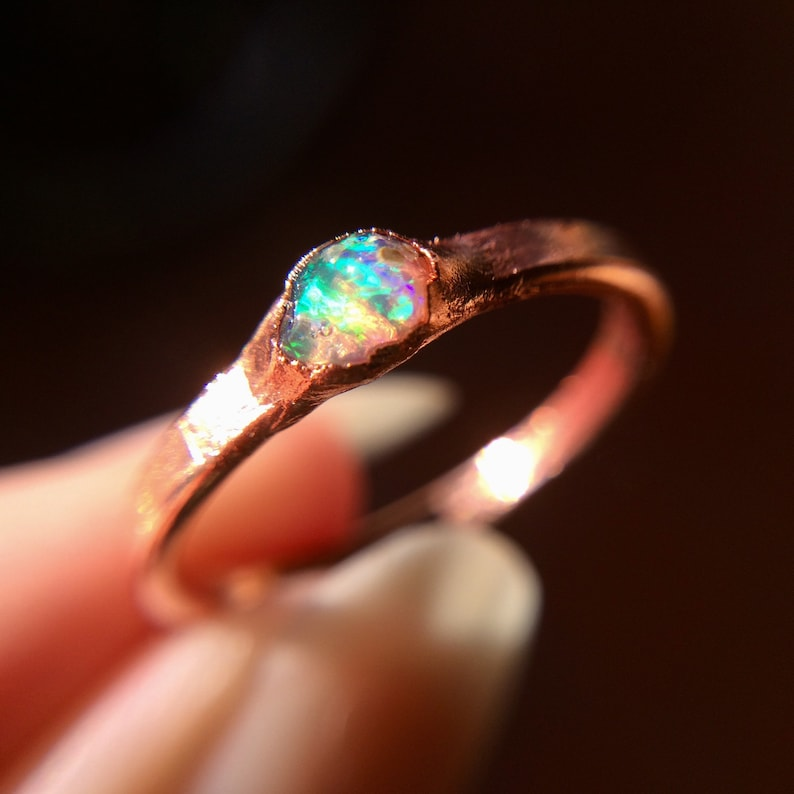 Raw Opal Ring Dainty Opal Ring Stacking Opal Ring Stack image 0