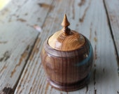 Wood Container-Trinket Holder-Hand Turned Container-Walnut Cherry Container-Custom Wooden Trinket Container-Free Shipping