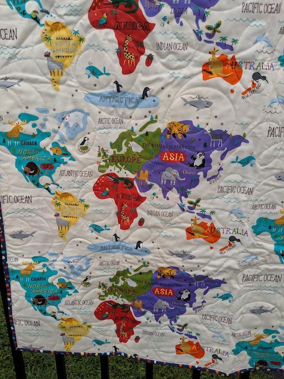 Quilts-Quilt for Child-Child Quilt-Map Quilt-Handmade Quilt-Child-Kid-Baby  Quilt- Throw Quilt-Size 42\