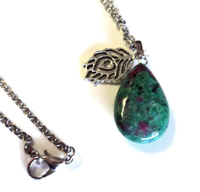 Ruby in Fuchsite Teardrop Pendant Necklace 20 Silver Chain Pendant Silver Peacock Feather Gift for Her Mother/'s Day Gift  Takuniquedesigns