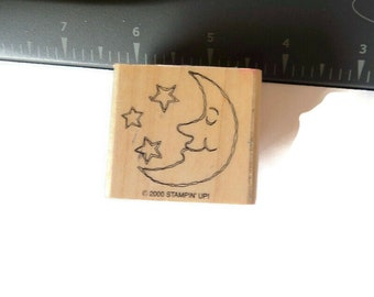 1 Man in the Moon with Stars Celestial Used Wood Mounted Rubber Stamp  Scrap booking Paper Crafts Takuniquedesigns #2